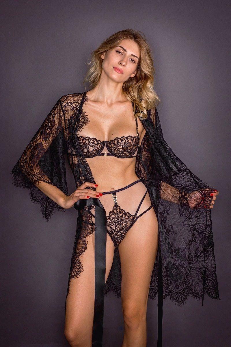 Robe de chambre sexy en dentelle noir Temptation