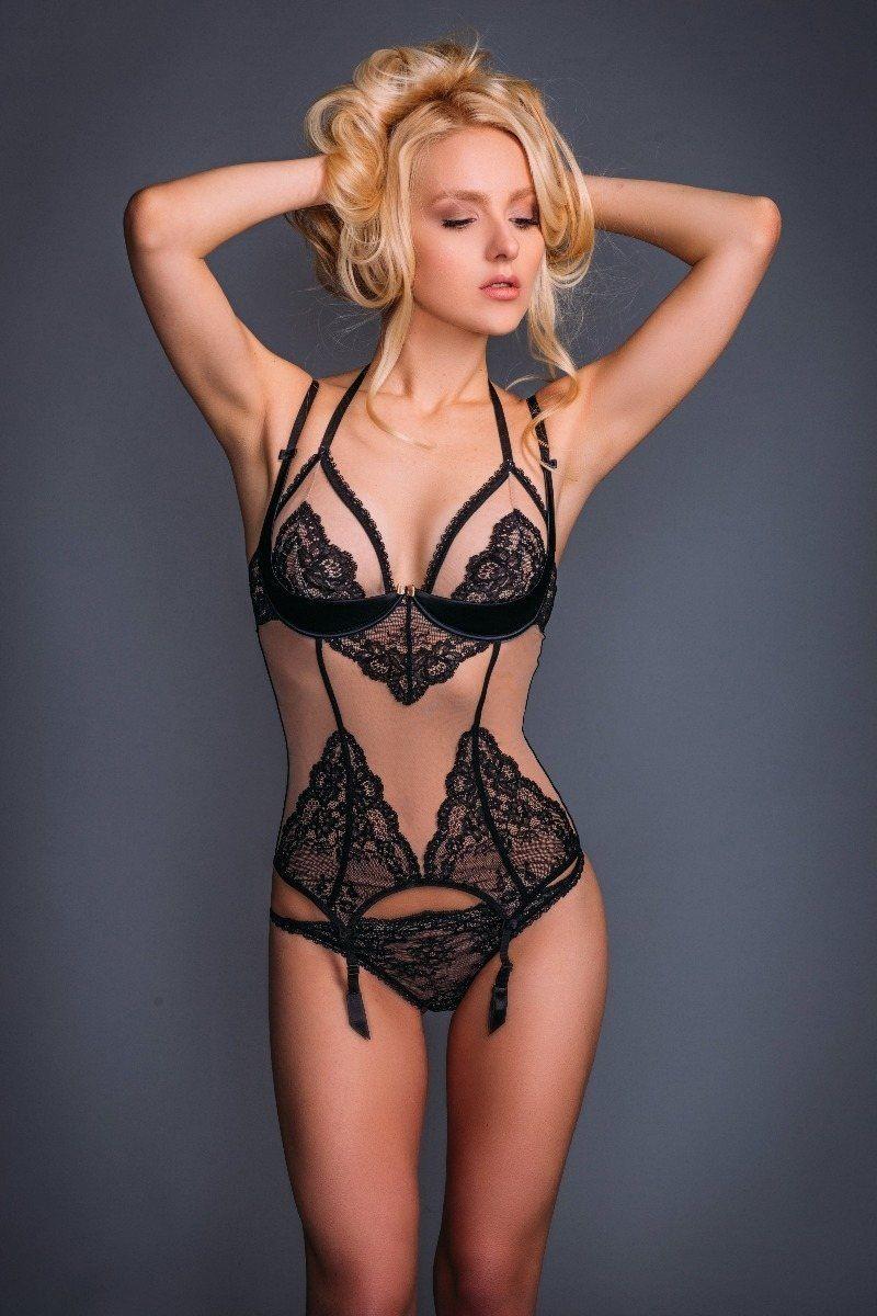 Guepière porte jarretelle Sexy Triangle  1/4 Cup Noir/Nude Chiara