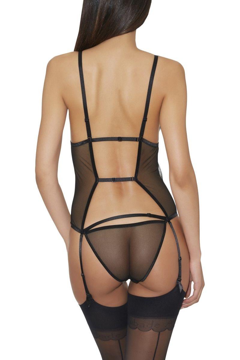 Body ouvrable avec porte-jarretelles noir Boite à désir