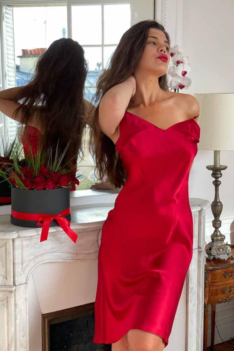 Robe midi en soie Rouge