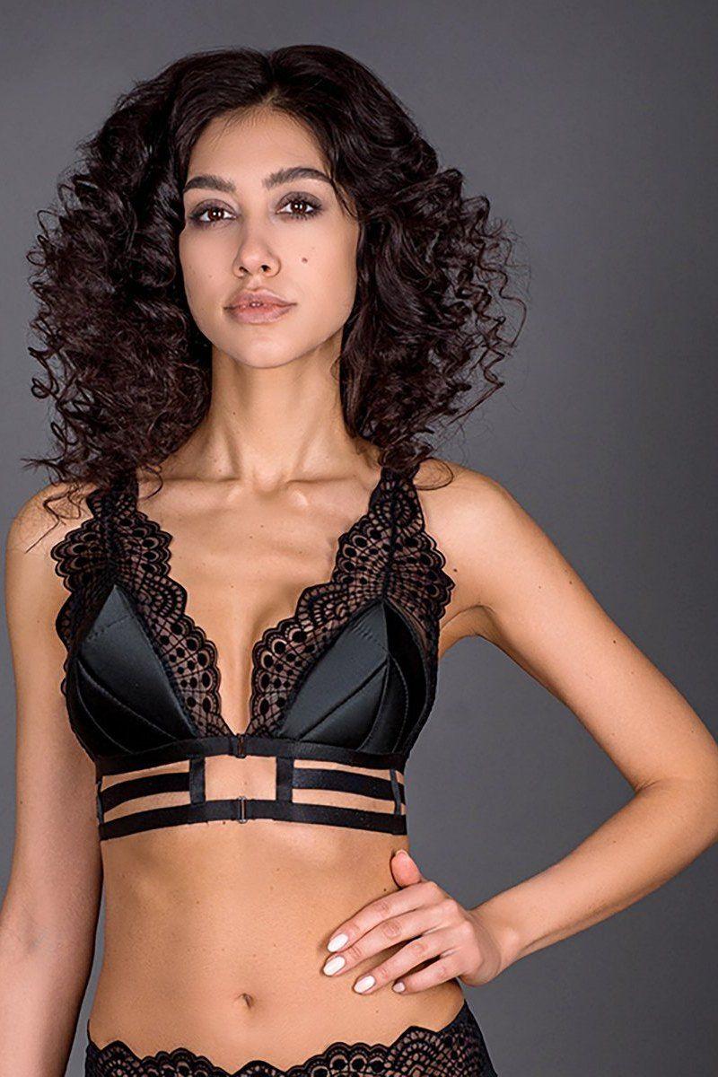 Soutien-Gorge sans armatures Brassiere Triangle en satin avec dentelle noir Ingrid