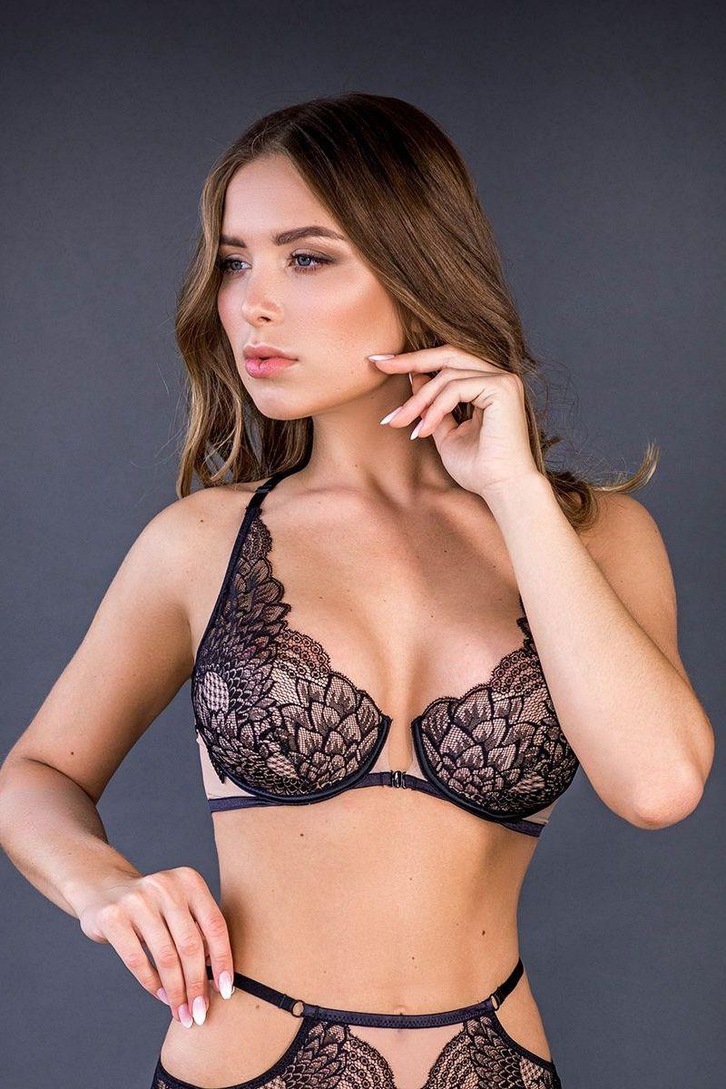 Soutien-gorge Push-up ouvrable noir/nude Selena