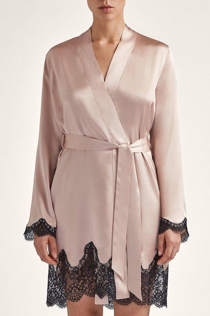 Kimono en soie Toi mon amour - rose pale