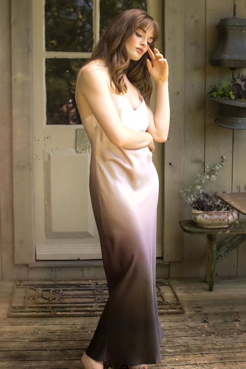 Robe longue en soie rose/marron Milia